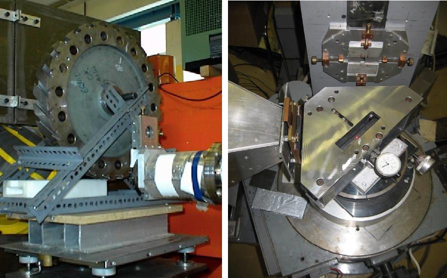 Az EK Budapesti Neutron Centrumának (BNC) munkatársai jelentős tapasztalattal rendelkeznek a neutrondiffrakciós feszültséganalízisben. A bal oldali kép a BNC egyik spektrométerének mintaasztalát mutatja, melyen egy gázturbinakerék élettartam-hosszabbításához a mikro (fázis) szerkezet roncsolásmentes vizsgálata folyik. A jobb oldali képen olyan kísérleti összeállítás látható, amelyben a neutronnyalábban a minta hajlítására, és így a neutrondiffrakciós mérés közbeni keltett feszültség mérésére alkalmas eszközt helyeztek el.